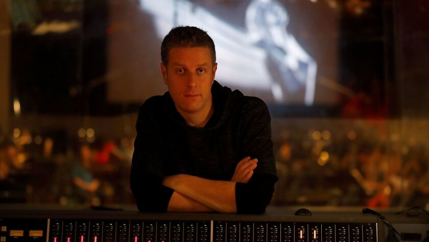 BURBANK, CALIF. - NOV. 18, 2017. Geoff Keighley sits in on an orchestral recording session at Warn