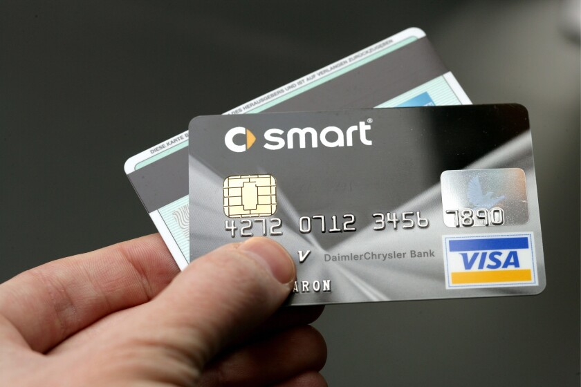 A smart credit card contains a visible chip that's designed to thwart criminals who counterfeit cards.