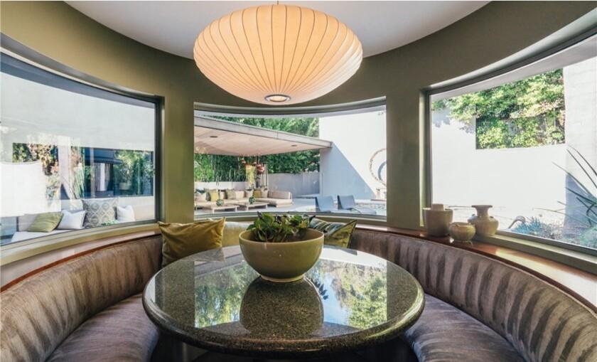 The contemporary home Adam Lambert sold has a circular breakfast nook.