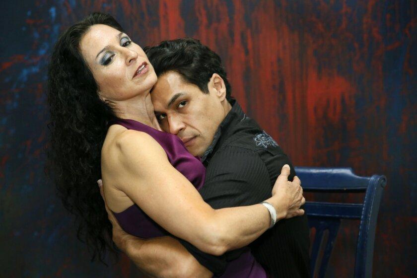 "Monica Sanchez and Lakin Valdez in San Diego Rep's ""Oedipus El Rey."""