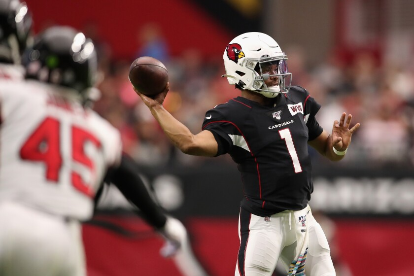 Arizona Cardinals quarterback Kyler Murray throws a pass against the Atlanta Falcons on Sunday.