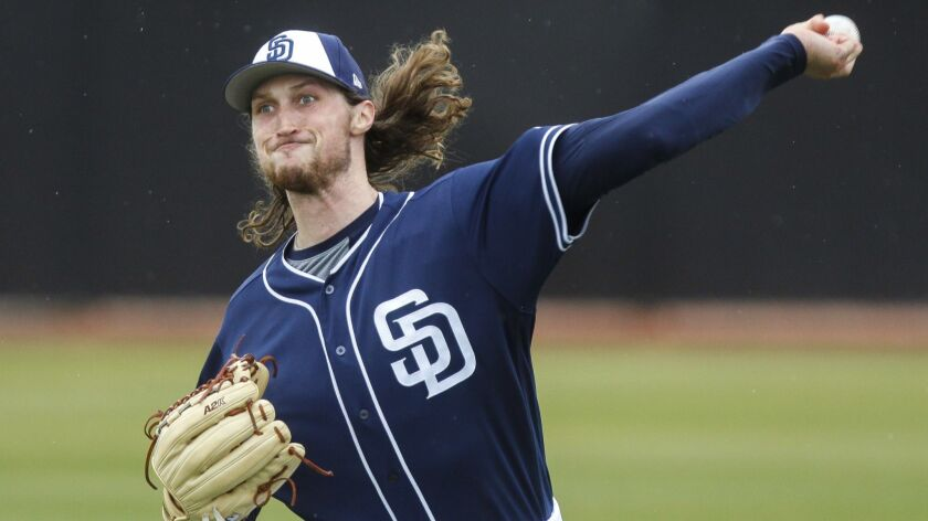 PEORIA, February 14, 2019   Padres' pitcher Matt Strahm throws on the first official day of Padres s
