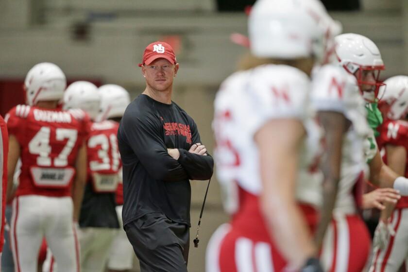 Nebraska head coach Scott Frost follows preseason practice in Omaha, Neb. on Wednesday.