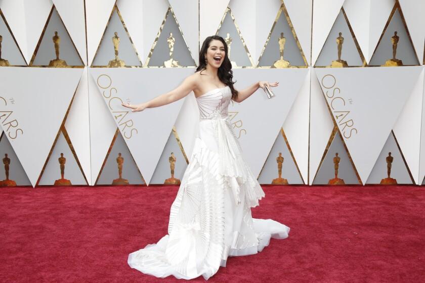 Hawaiian actress Auli'i Cravalho at the 2017 Oscars