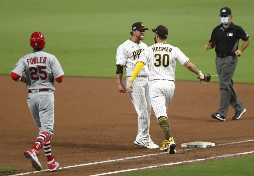 Trevor Rosenthal and Eric Hosmer of the San Diego Padres celebrate