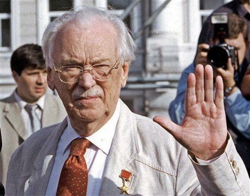 FILE -- In this July, 2000 file photo Sergei Mikhalkov is seen during a Moscow film festival, wearing a 'Hero of Socialist Labor Golden Star', one of the highest of Soviet awards, on his jacket. Sergei Mikhalkov, a Russian poet and lyricist of three versions of Soviet and Russian anthems, has died