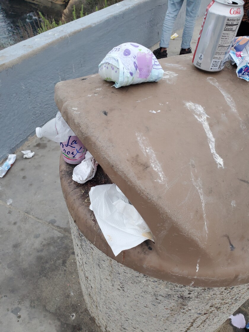 Overflowing trash cans are among the local problems La Jolla Town Council President James Rudolph would like to see solved.