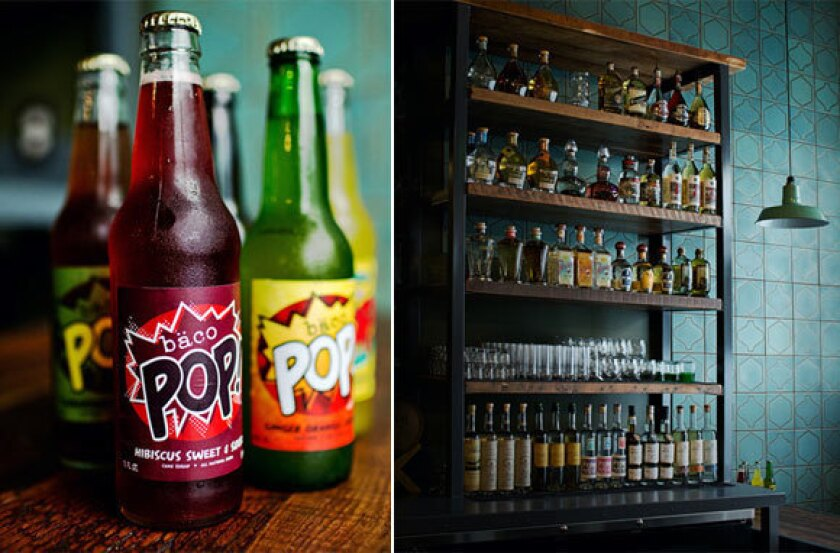 From left, specialty sodas and tequilas at Bar Ama.