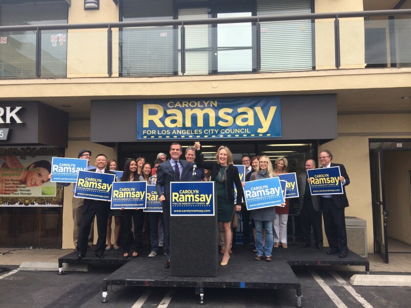 Los Angeles Mayor Eric Garcetti announces his endorsement of City Council candidate Carolyn Ramsay to represent District 4, which stretches from Sherman Oaks to the Miracle Mile.