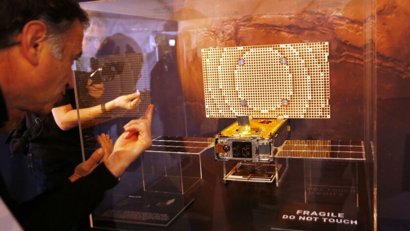 A Mars Cube One replica was on display Monday at the Jet Propulsion Laboratory.