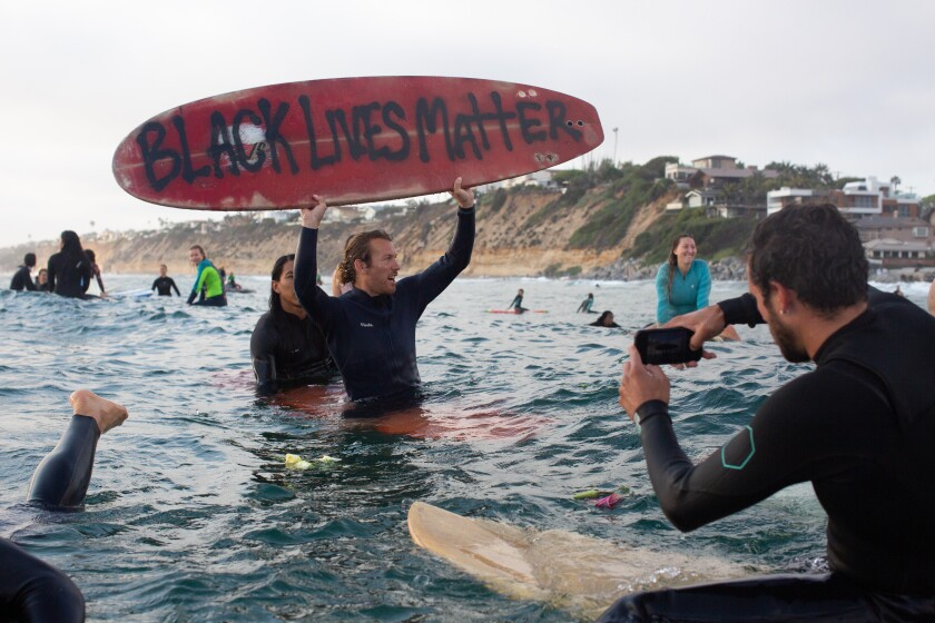 Moonlight State Beach in Encinitas was the scene of a June 3 protest over the death of George Floyd while in police custody.