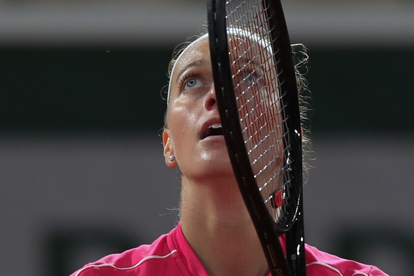 Petra Kvitova of the Czech Republic celebrates winning her fourth round match of the French Open tennis tournament against China's Zhang Shuai in two sets 6-2, 6-4, at the Roland Garros stadium in Paris, France, Monday, Oct. 5, 2020. (AP Photo/Michel Euler)