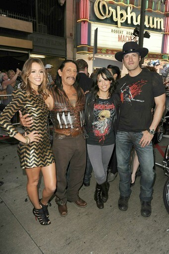 Jessica Alba, Danny Trejo, Michelle Rodriguez, and director Robert Rodriguez pose in front of the Orpheum Theatre in downtown Los Angeles.