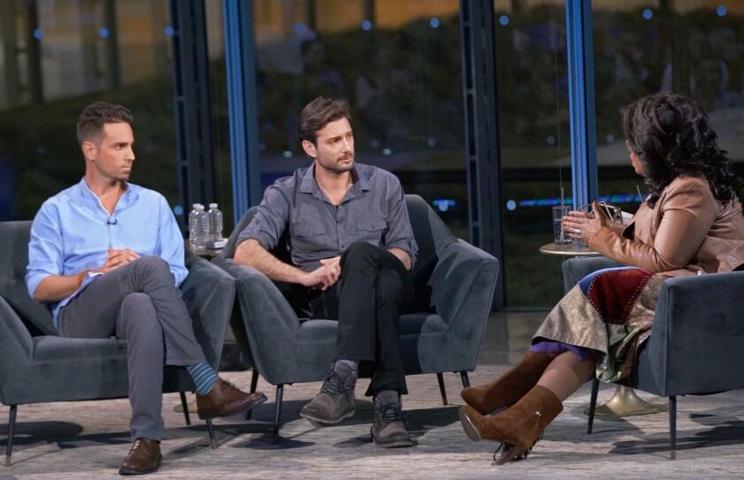 "Wade Robson, left, and James Safechuck on ""Oprah Winfrey Presents: After Neverland."""