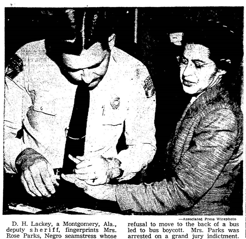 D.H. Lackey fingerprints Rosa Parks in 1956 AP photo
