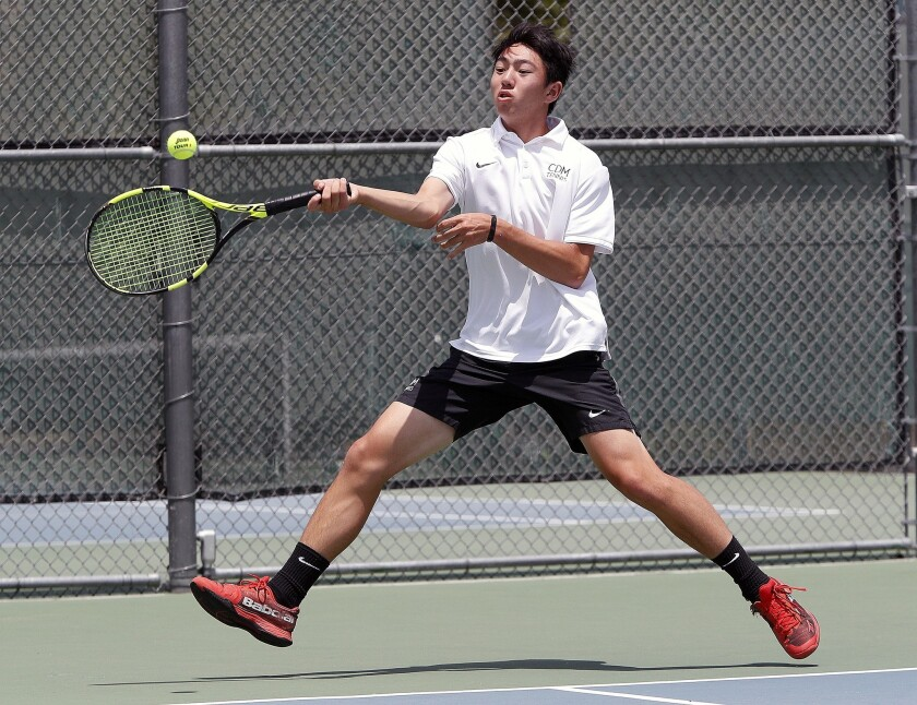 Corona del Mar's Kyle Pham strides to a forehand return in a singles match competing competes in one