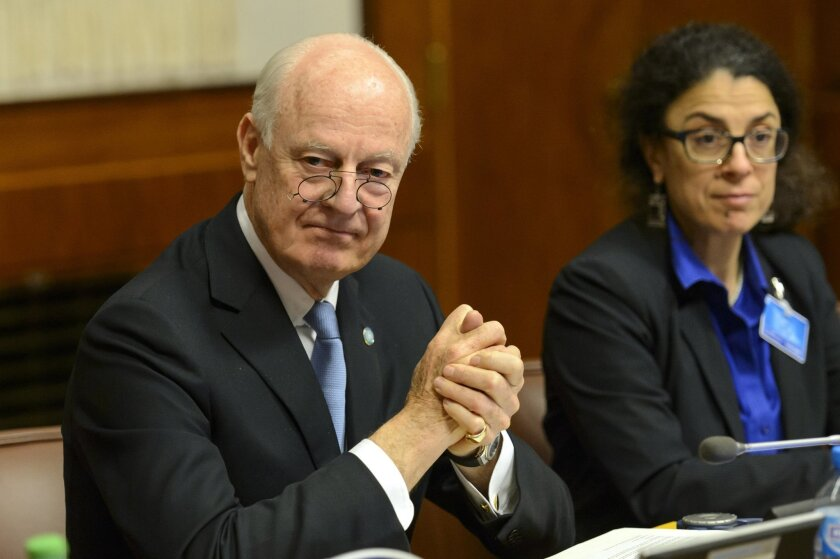 "UN Special Envoy of the Secretary-General for Syria, Staffan de Mistura, sits after arriving for the round of negotiation between the Syrian government and the opposition in Geneva, Switzerland, Friday, Jan. 29, 2016. The United Nation's Syria envoy says he has ""good reason to believe"" that the main Syrian opposition group will join Geneva peace talks Sunday. Staffan de Mistura says he is still waiting for ""formal indication"" that the opposition coalition, known as the Higher Negotiating Committee, will attend the talks. (Martial Trezzini/Keystone via AP) SWITZERLAND OUT"