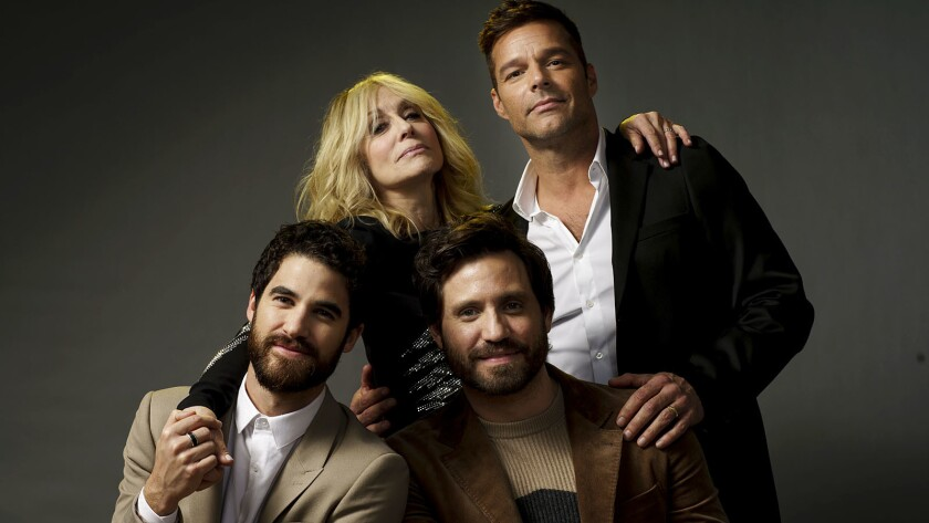 """Darren Criss, Judith Light, Edgar Ramirez and Ricky Martin, cast of the FX miniseries: """"The Assassination of Gianni Versace,"""" in Los Angeles."""