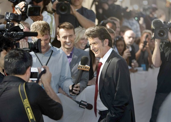Charlie Sheen is interviewed on the red carpet before his Comedy Central roast.