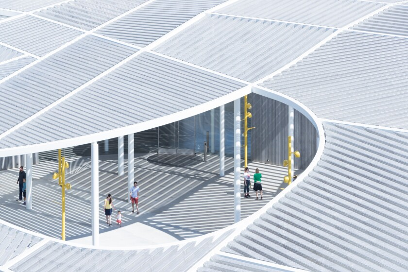 The courtyard of the Jan Shrem and Maria Manetti Shrem Museum of Art at UC Davis, by SO-IL and Bohlin Cywinski Jackson.