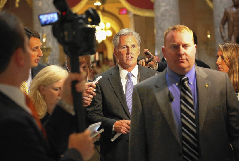 House Majority Whip Kevin McCarthy (R-Bakersfield), center, helped inspire the budget brinkmanship that forced a partial shutdown of the federal government for 16 days last fall.