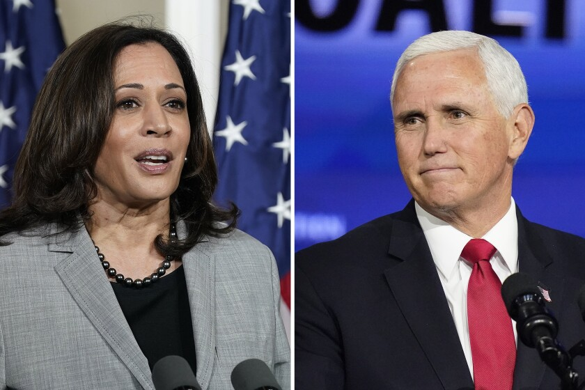 Democratic vice presidential candidate Sen. Kamala Harris and Vice President Mike Pence are shown in separate images.