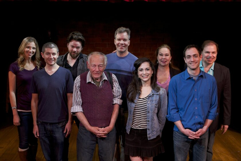 The cast of North Coast Rep's School for Lies (left to right): Brenda Dodge, David McBean, Richard Baird, Jonathan McMurtry, Jason Heil, Jessica John, Dana Hooley, Joel Ripka and Phil Johnson.
