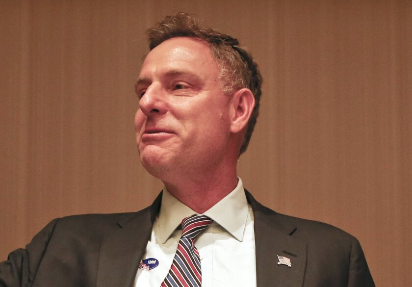 In this Nov. 4, 2014 file photo, Rep. Scott Peters, D-Calif. speaks in San Diego.  (AP Photo/Lenny Ignelzi, File)