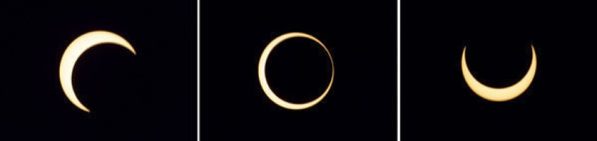 The various stages of an annular solar eclipse seen over Anuradhapura, Sri Lanka.