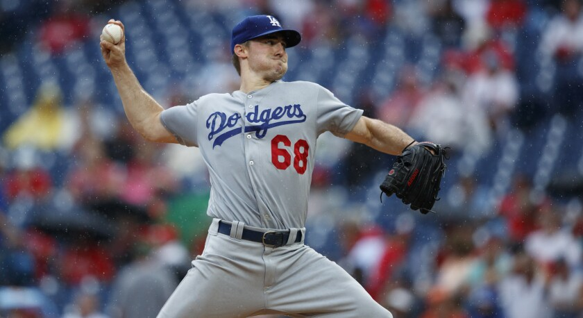 Ross Stripling pitches against the Philadelphia Phillies on July 18.