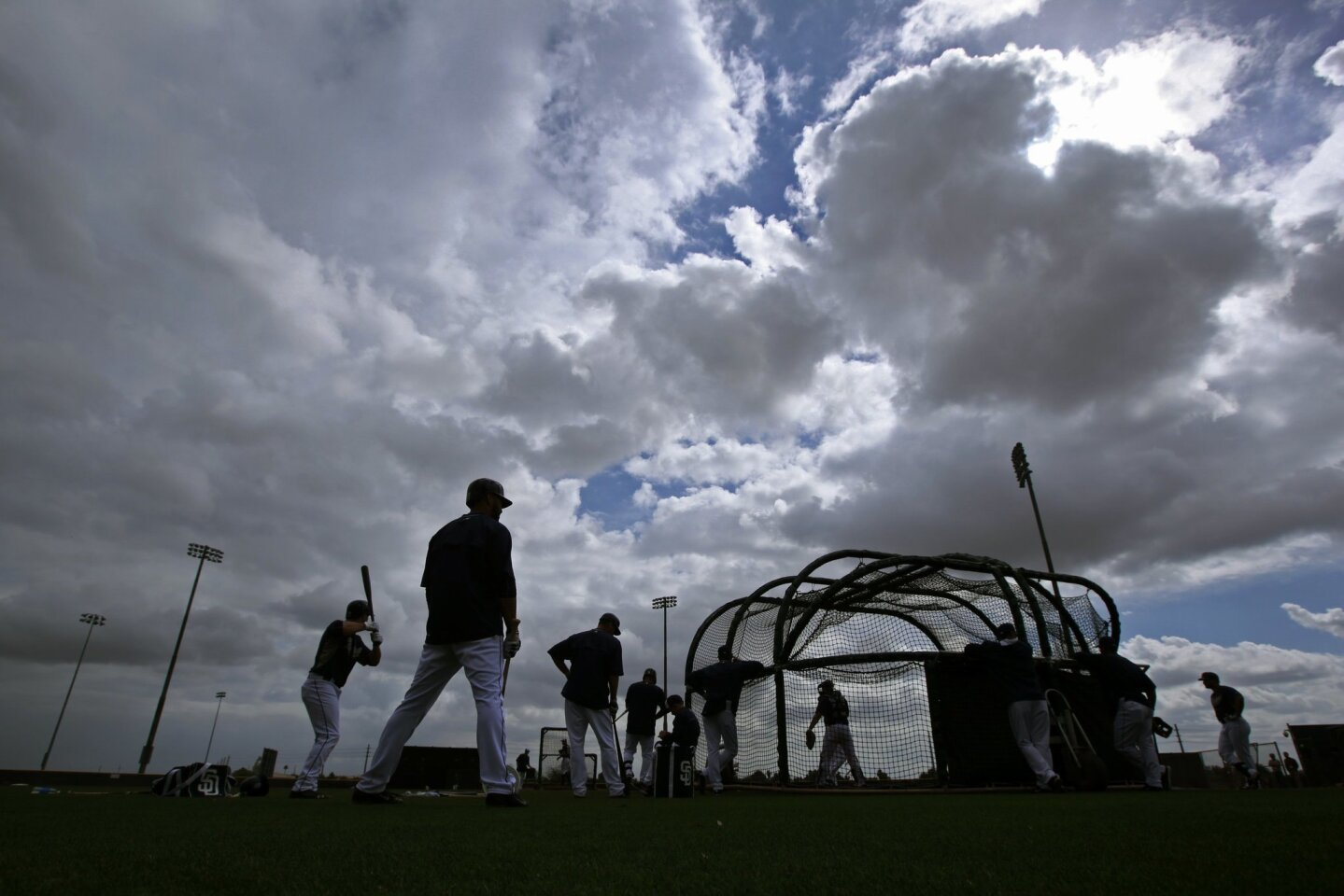 San Diego Padres outfielder Matt Kemp waits to bat at a spring training practice.