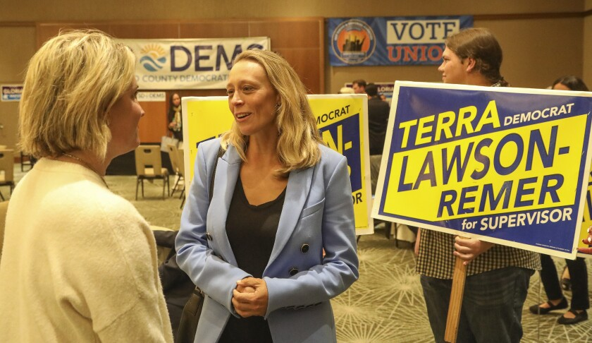 Democrat candidate for Supervisor District 3 Terra Lawson-Remer appears at the Westin Hotel in downtown on election night on March 3, 2020 in San Diego, California.