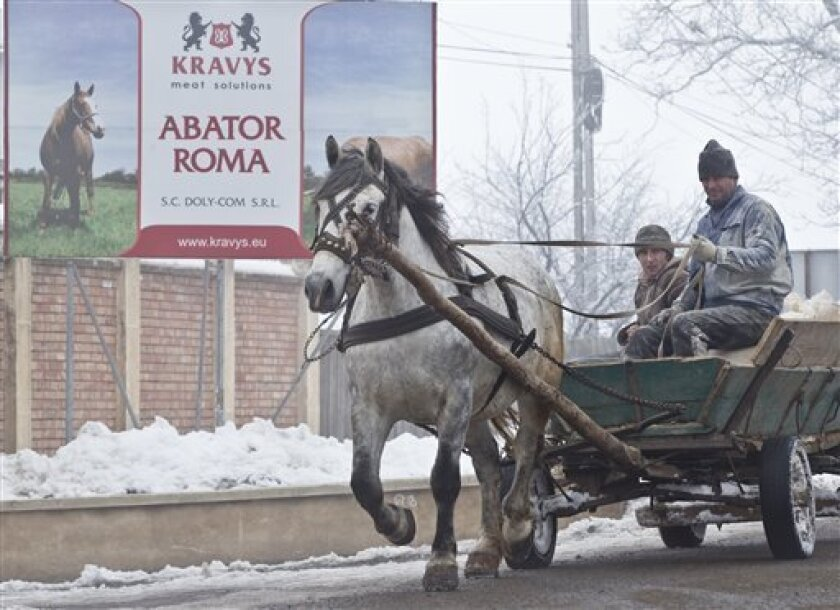 CORRECTS LOCATION In this Feb. 12, 2013  men ride on a horse pulled cart passing by the Doly Com abattoir, in Roma, Romania,  one of the two Romanian plants suspected in the recent European horse meat scandal . Europe's horsemeat scandal has focused the spotlight on Romania and its network of 35 pl