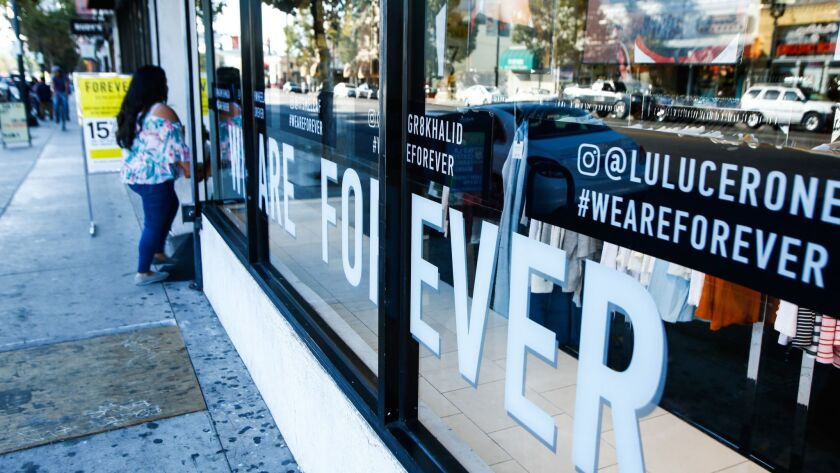 LOS ANGELES, CA-Aug. 16, 2017: The first ever Forever 21 store, opened in 1984, in Highland park on