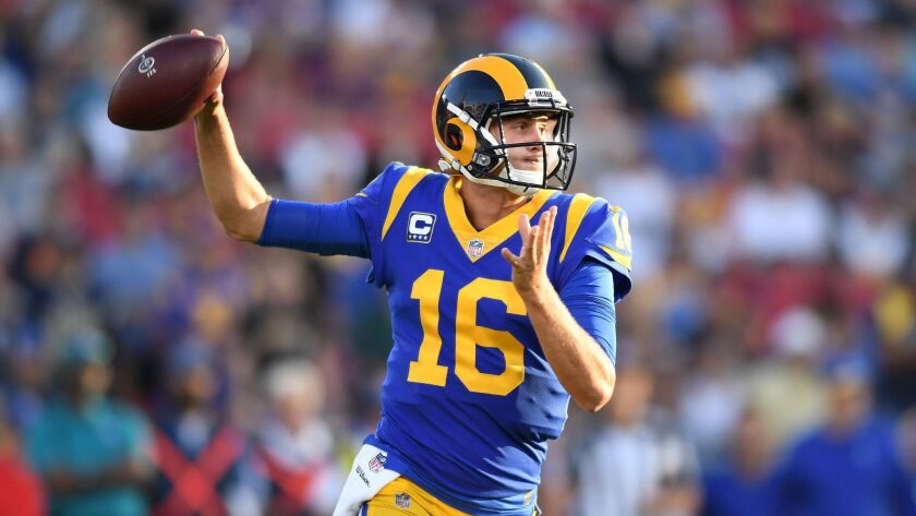 LOS ANGELES, SEPTEMBER 27, 2018-Rams quarterback Jared Goff throws a pass against the Vikings in the