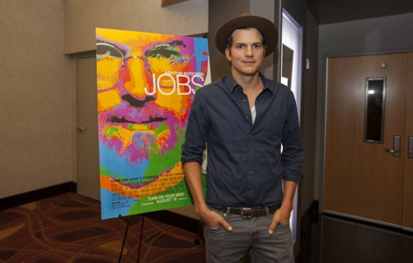 """Ashton Kutcher at a screening of """"Jobs"""" in Chicago."""