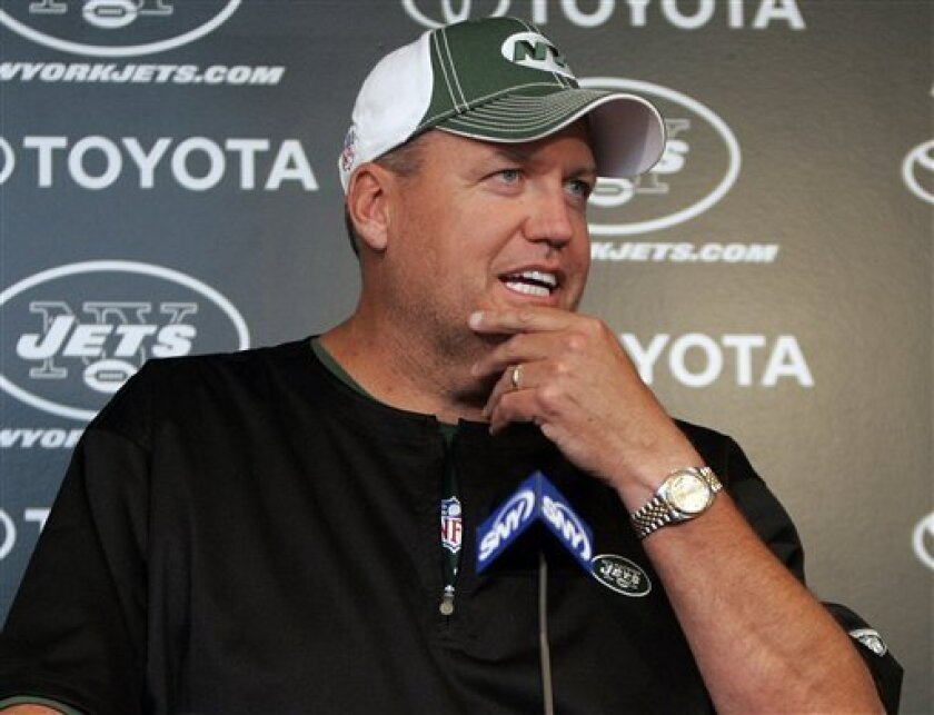 New York Jets head coach Rex Ryan talks to the media after football practice, about the return of cornerback Darrelle Revis at the team's practice facility in Florham Park, NJ on Monday, Sept. 6, 2010. Revis had been holding out for a new contract since August 1 and agreed to terms late Sunday night. (AP Photo/Rich Schultz)