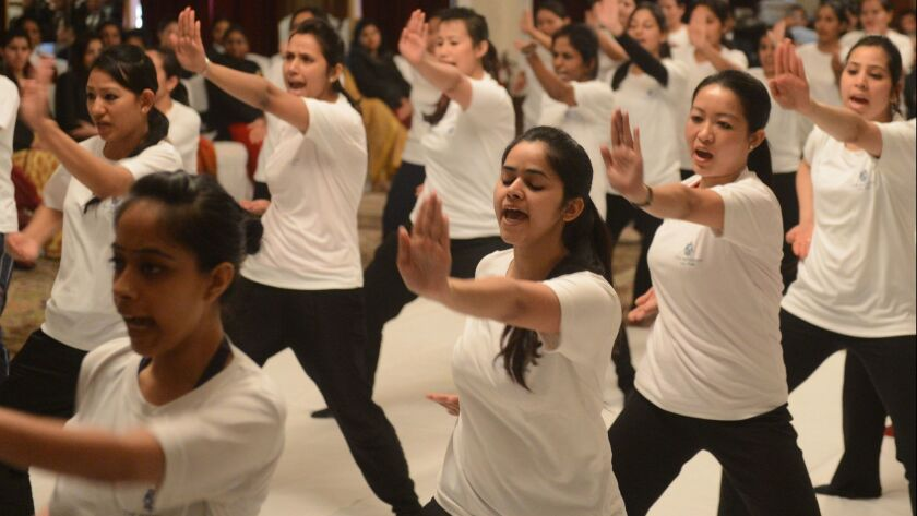 Women practice during a self-defense class led by New Delhi police.