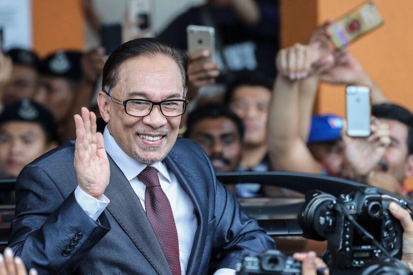 Malaysian opposition leader Anwar Ibrahim leaves a rehabilitation center in Kuala Lumpur, Malaysia, on May 16, 2018.