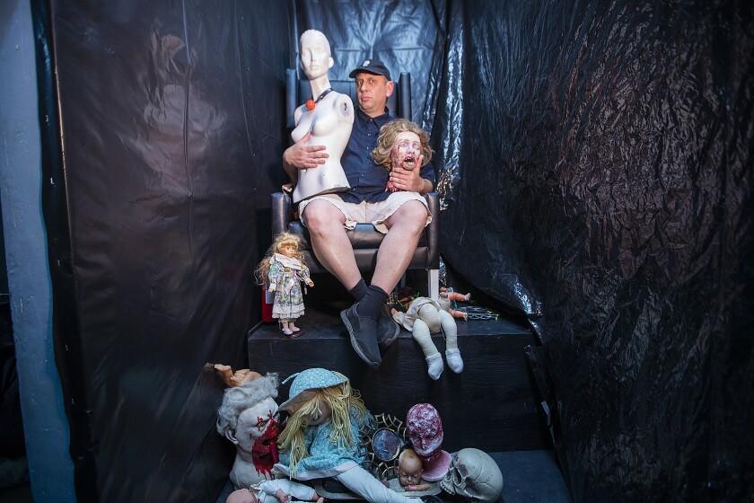 Zombie Joe poses inside the maze