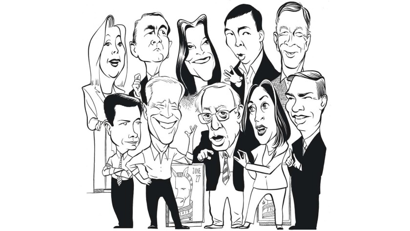 Illustrations of Democratic candidates ready to debate. Front row, L to R: Pete Buttigieg, Joe Biden