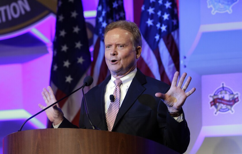 Former Sen. Jim Webb of Virginia, shown at the National Sheriffs' Assn. presidential forum in Baltimore on Tuesday, announced on his website Thursday that he's seeking the Democratic nomination for president.