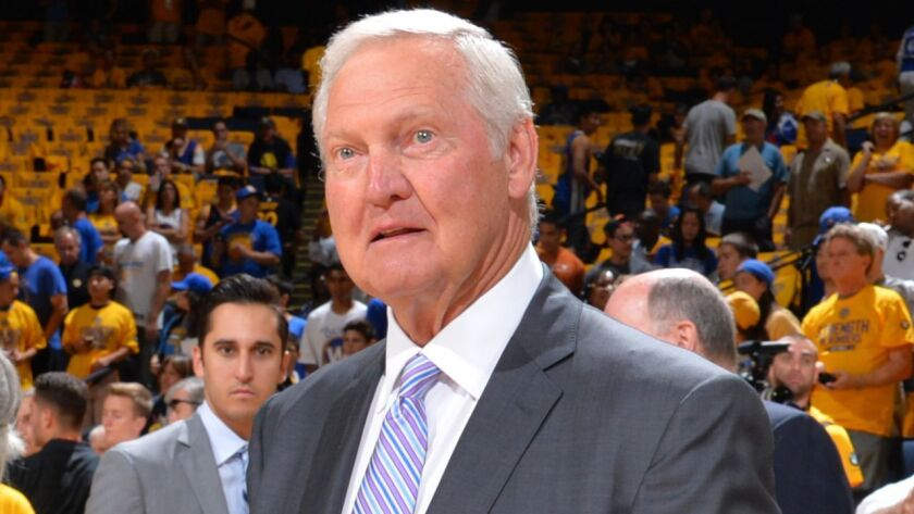 OAKLAND,CA - JUNE 7: NBA Legend Jerry West looks on prior to the Cleveland Cavaliers against the Go