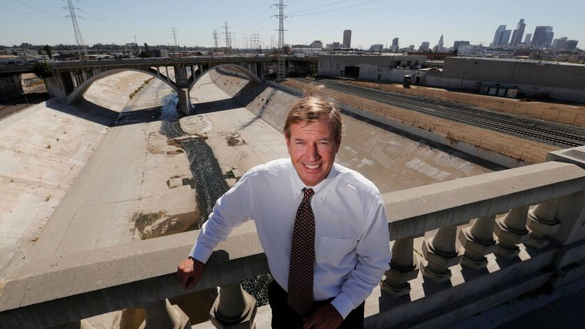 The rubber dam would be the first new major piece of infrastructure constructed on the 51-mile-long L.A. River since the late 1930s, when it was transformed into a concrete flood-control channel. Above, hydrologist Mark Hanna, who helped design the project.