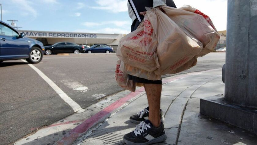 San Diego is among the cities that have banned single-use plastic bags.