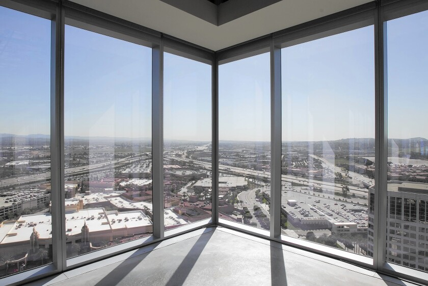 A view looking south from the 14th floor of the 323-foot 200 Spectrum Center building in Irvine. It is Orange County's tallest structure, surpassing the 315-foot office building at 520 Newport Center Drive in Newport Beach.