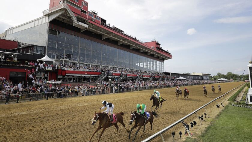 Horses cross the finish line at Pimlico Race Course on May 17. The 2019 Preakness Stakes will be run on Saturday.