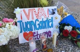 Juan Gabriel fans at mortuary