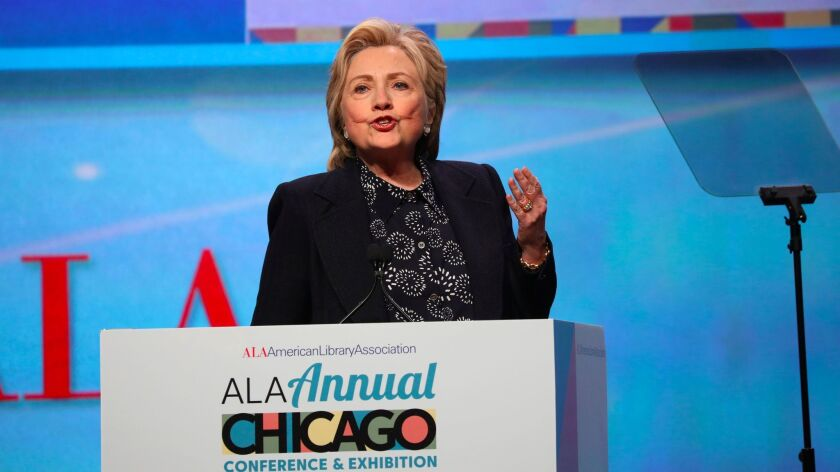 Hillary Rodham Clinton makes the keynote address Tuesday June 27, 2017 to the American Library Assoc