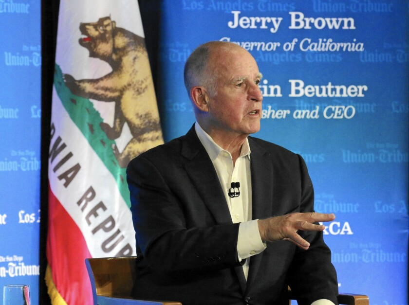 "Gov. Jerry Brown spoke about the drought and global warming in an interview at USC last week. ""Like every other species,"" he said, ""we have to adapt to whatever the environment is that we're thrown into. And we adapt or we disappear."""